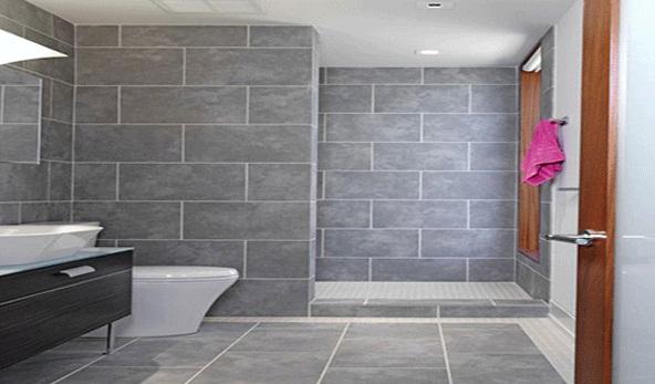 sử dụng gạch lát nền kích thước lớn cho nhà tắm